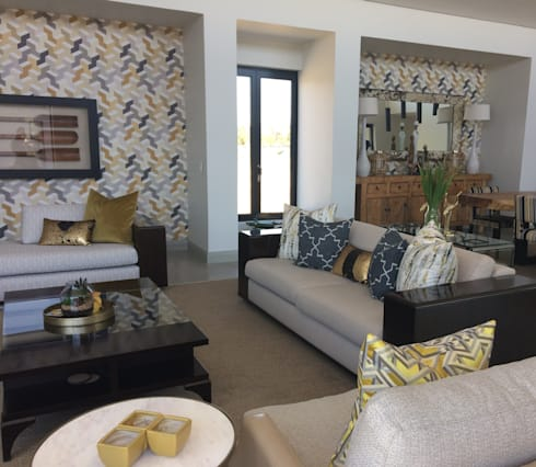 Golden Geometry: modern Living room by Sophistique Interiors
