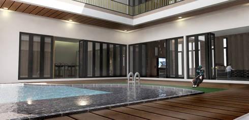Kolam Renang Inner Court:  Kolam renang halaman by Scande Architect