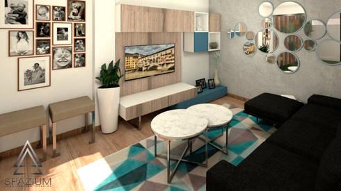 •DISEÑO SALA COMEDOR•: Casas unifamiliares de estilo  por SPAZIUM ARQUITECTURA INTERIOR