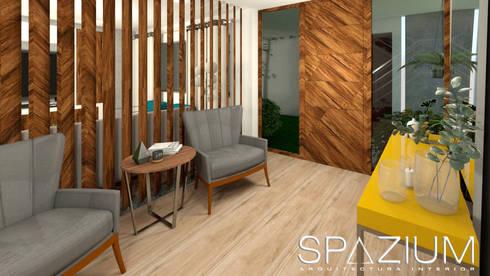 •DISEÑO SALA COMEDOR•: Casas de estilo moderno por SPAZIUM ARQUITECTURA INTERIOR