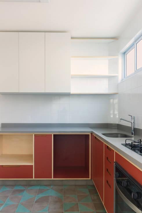 Cozinha vermelha com ladrilhos cinzas e azuis: Armários e bancadas de cozinha  por INÁ Arquitetura