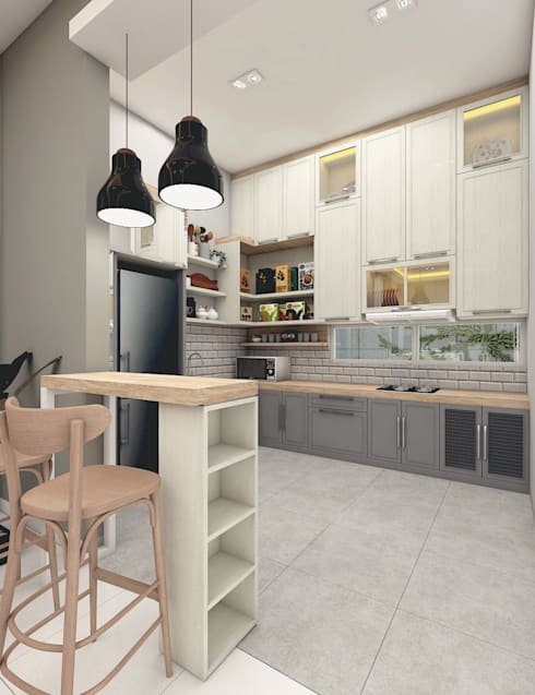 SCANDINAVIAN MOOD DESIGN:  Dapur built in by CASA.ID ARCHITECTS