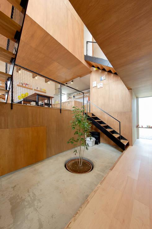 スキップフロアの中央に土間ホール: 株式会社建築工房DADAが手掛けた階段です。
