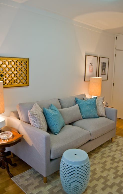 Projeto remodelação de sala TV: Salas de estar  por Tangerinas e Pêssegos - Design de Interiores & Decoração no Porto