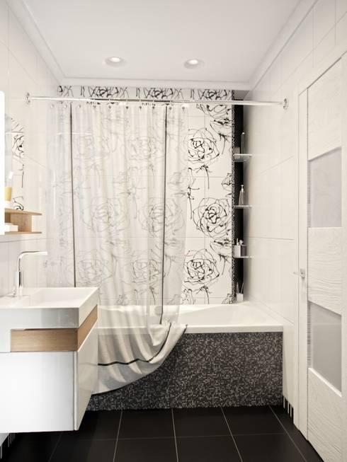 Дизайн двухкомнатной квартиры в скандинавском стиле: Ванная комната в . Автор – ЕвроДом