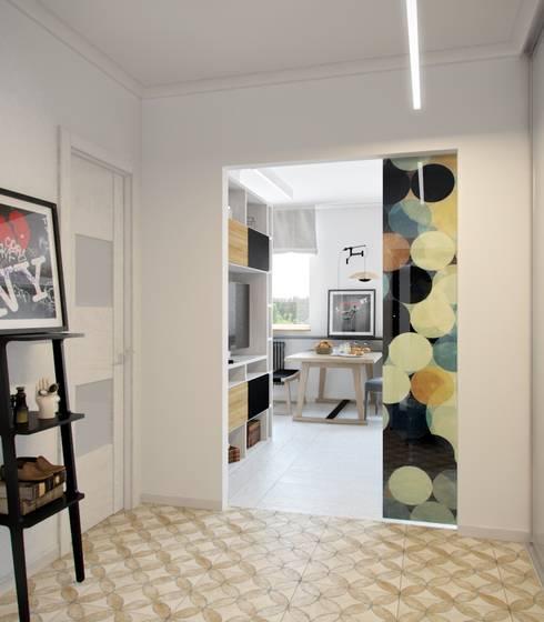 Дизайн двухкомнатной квартиры в скандинавском стиле: Прихожая, коридор и лестницы в . Автор – ЕвроДом