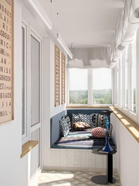 Дизайн двухкомнатной квартиры в скандинавском стиле: Балкон, веранда и терраса в . Автор – ЕвроДом
