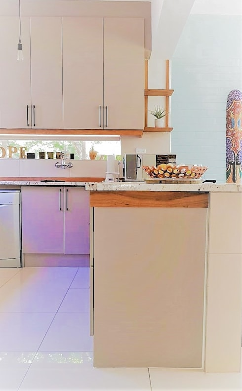 Eclectic Kitchen With Striking Solid Teak Detail :  Built-in kitchens by Zingana Kitchens and Cabinetry
