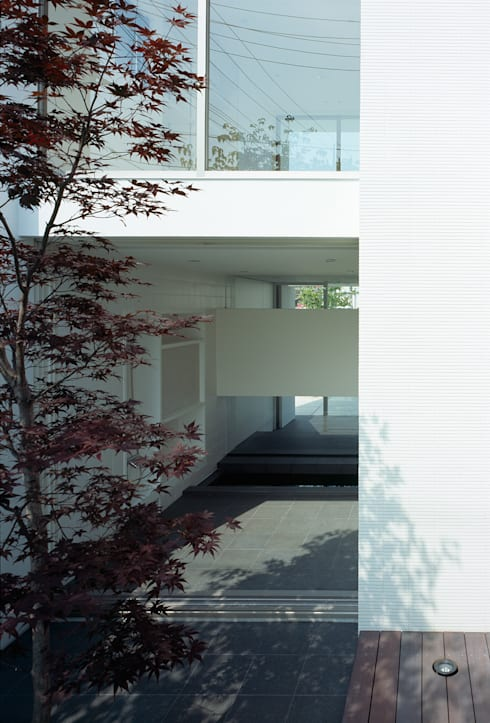庭から浴室を見る: 松岡淳建築設計事務所が手掛けた庭です。