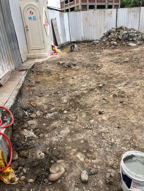 開挖前,利用水線放樣出要開挖的範圍:   by 讚基營造有限公司