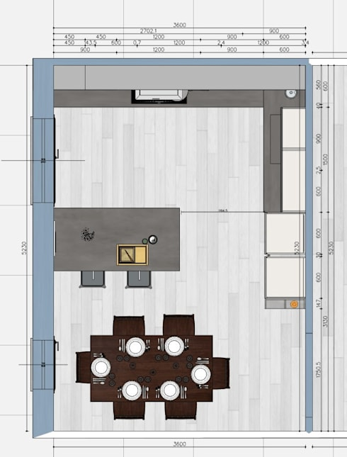 Pianta cucina: Cucina in stile  di G&S INTERIOR DESIGN