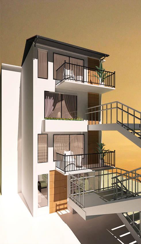   PROYECTO LOFT   - Vista Fachada: Casas de estilo  por Giovanna Solano - DLuxy Muebles Design