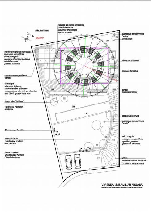 Plano general emplazamiento y orientación casa:  de estilo  de Arpa'Studio Arquitectura y Feng Shui