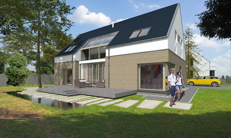 Dom _Passive_South: styl , w kategorii Domy zaprojektowany przez ABC Pracownia Projektowa Bożena Nosiła