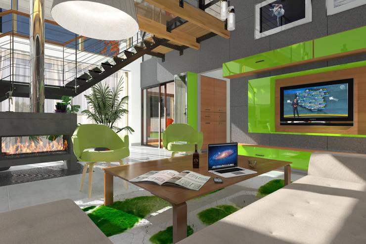 Dom _Passive_South: styl , w kategorii Salon zaprojektowany przez ABC Pracownia Projektowa Bożena Nosiła