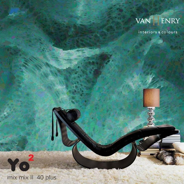 Yo2 Tapeten von yoyodesigns:  Wände & Boden von vanHenry interiors & colours