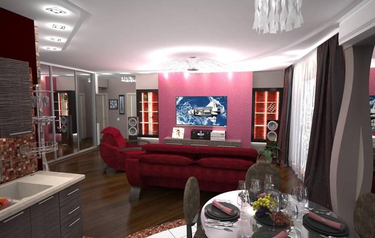 Кухня-гостиная с красным акцентом: Гостиная в . Автор – Гурьянова Наталья