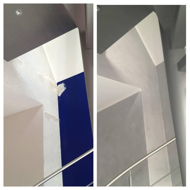 Treppenhaus in Betonoptik:  Flur & Diele von Malerbetrieb Trynoga
