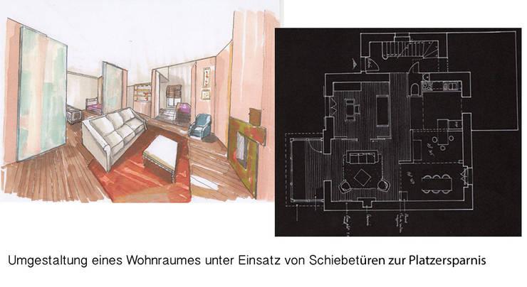 Zeichnungen: moderne Wohnzimmer von vanHenry interiors & colours