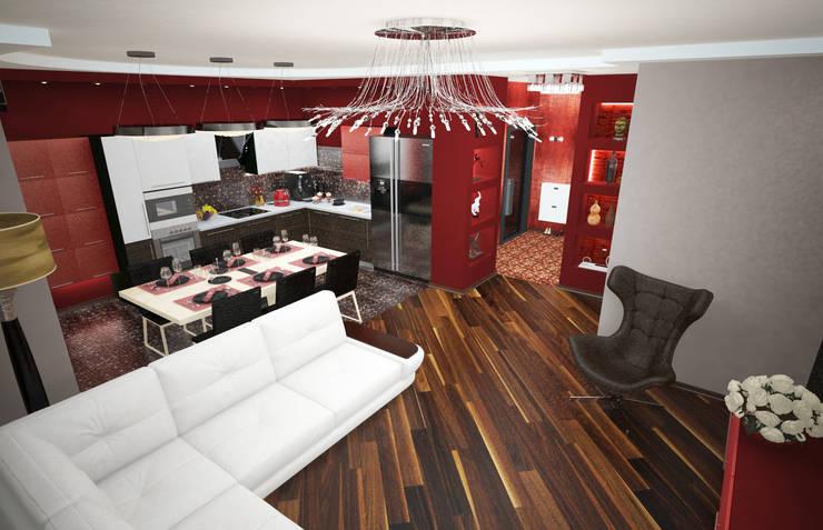 Кухня-гостиная в квартире для семьи из трех человек: Гостиная в . Автор – Гурьянова Наталья