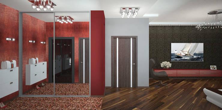 Кухня-гостиная в квартире для семьи из трех человек: Коридор и прихожая в . Автор – Гурьянова Наталья