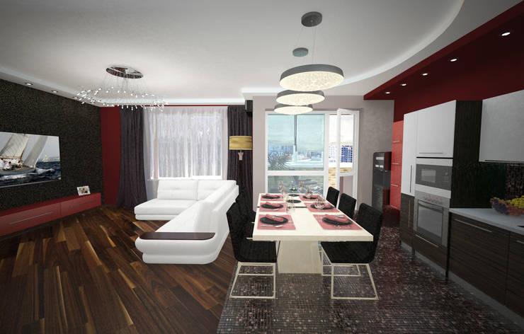 Кухня-гостиная в квартире для семьи из трех человек: Столовые комнаты в . Автор – Гурьянова Наталья