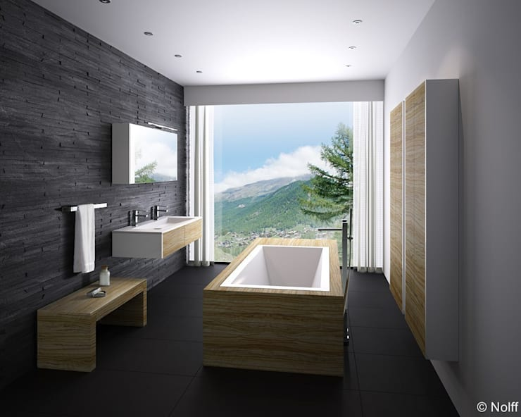 Baños de estilo  por Die Tischlerei Hauschildt