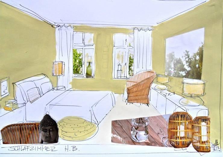 Künstlerische Skizzen zur Farbberatung: moderne Schlafzimmer von Gebr. Tonsor