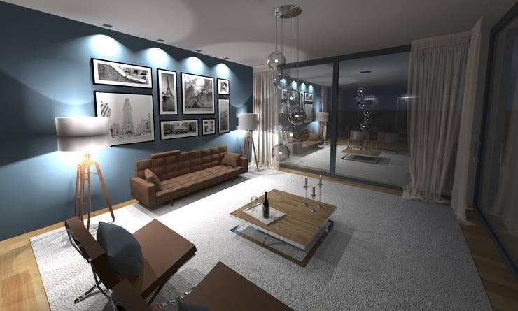 visualisierung wohnbereich:  Wohnzimmer von innenarchitektur s. kaiser,