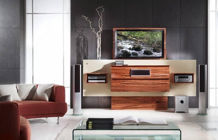Exklusives HIFI-Möbel mit versenkbarem Fernseher: moderne Wohnzimmer von LIGNUM Möbelmanufaktur