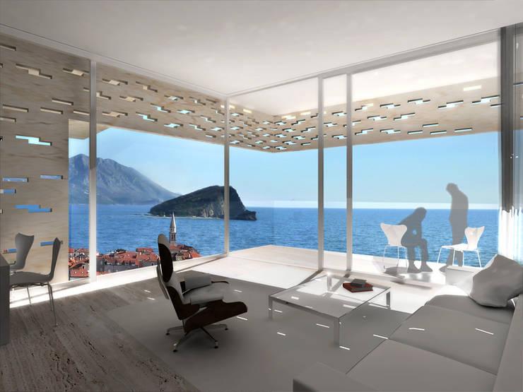 Hackenbroich Architekten: modern tarz Oturma Odası