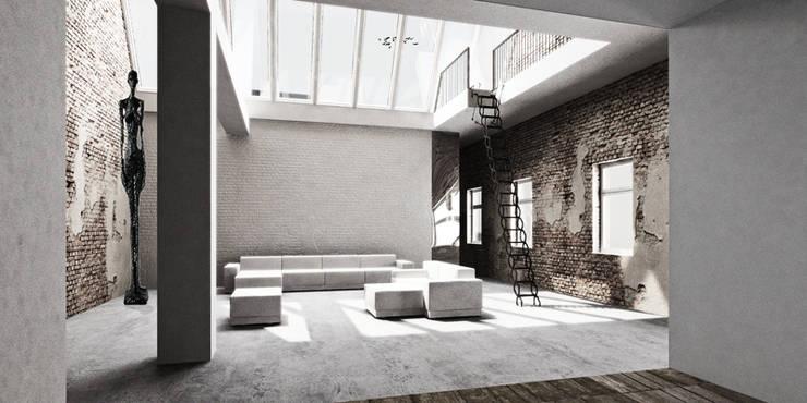 Berlin Loft:  Wohnzimmer von marc benjamin drewes ARCHITEKTUREN,