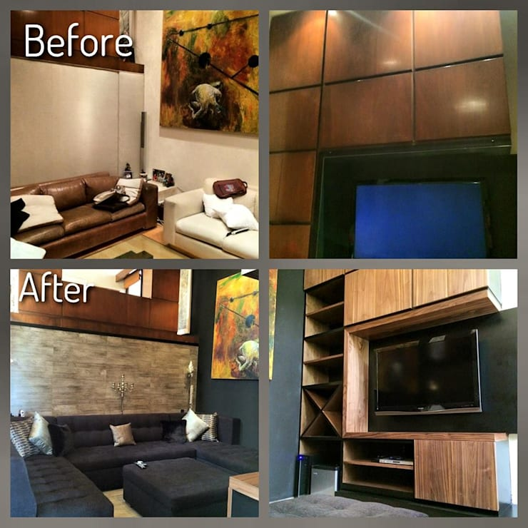 Antes y Después, En espacio interiores.:  de estilo  por Nómada Studio