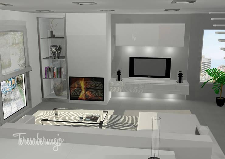 El Salón de Jesús y Ana : Salones de estilo moderno de  Diseñadora de Interiores, Decoradora y Home Stager