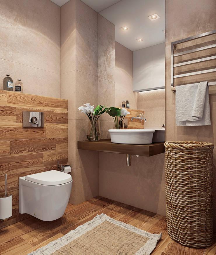 studio apartment: Ванные комнаты в . Автор – Angelina Alekseeva, Минимализм