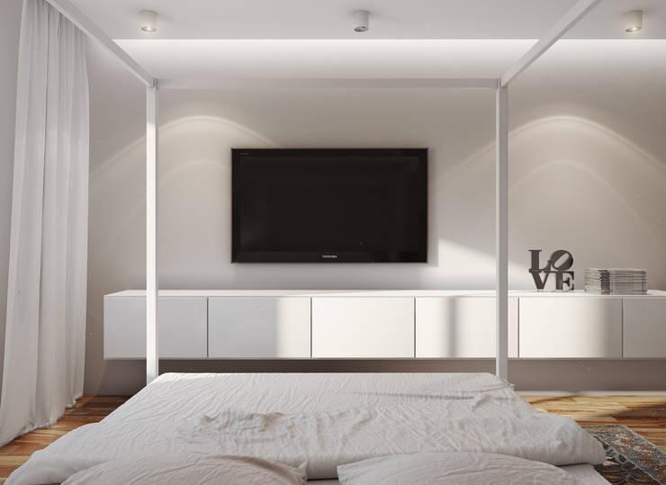 studio apartment: Спальни в . Автор – Angelina Alekseeva, Минимализм