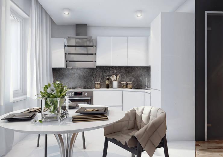 studio apartment: Кухни в . Автор – Angelina Alekseeva, Минимализм