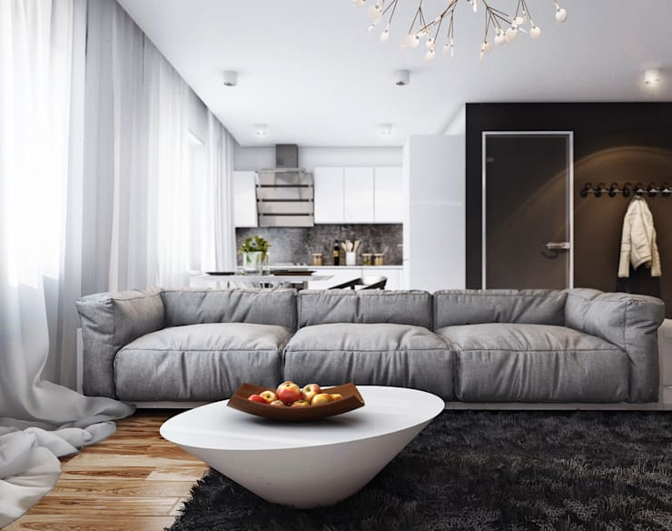 studio apartment: Гостиная в . Автор – Angelina Alekseeva, Минимализм