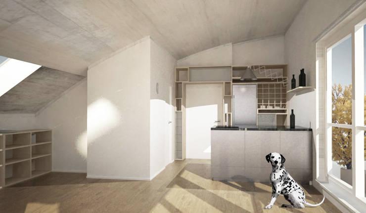 Umbau Dachgeschosswohnung, München: Cocinas de estilo  de Brut Deluxe Architecture + Design