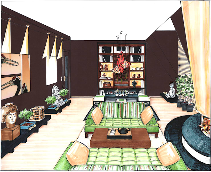 Living room by Innenarchitektin Claudia Haubrock, Asian