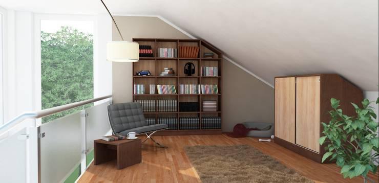 Regal und Schrank mit Schiebetüren für Dachschrägen: moderne Wohnzimmer von deinSchrank.de GmbH