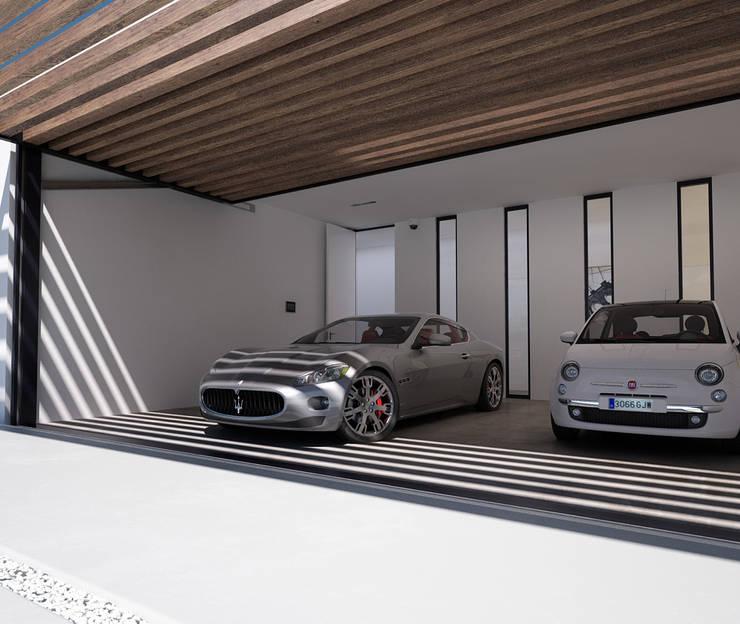 Proyecto de Vivienda Unifamiliar: Garajes de estilo moderno de DUE Architecture & Design