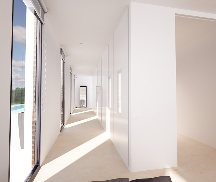 Proyecto de Vivienda Unifamiliar: Pasillos y vestíbulos de estilo  de DUE Architecture & Design