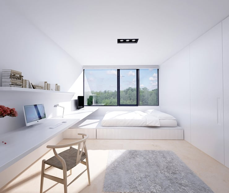 Proyecto de Vivienda Unifamiliar: Dormitorios de estilo moderno de DUE Architecture & Design
