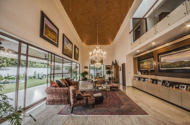 Casa MN: Salones de estilo moderno de Básico arquitectura