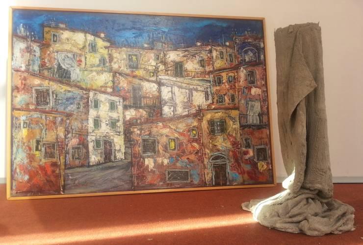 Vaso da fiori in tessuto cementato n°5-2013: Balcone, Veranda & Terrazzo in stile  di Architetto Daniele Stiavetti