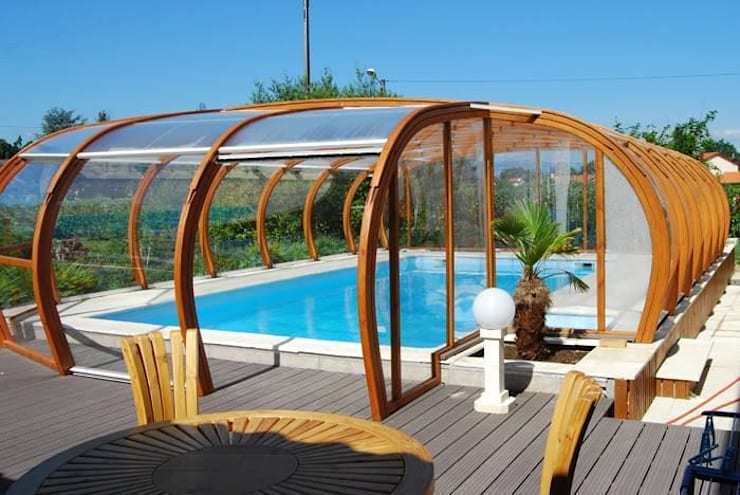 Glulam Swimming Pool Cover:  Garden by EcoCurves - Bespoke Glulam Timber Arches