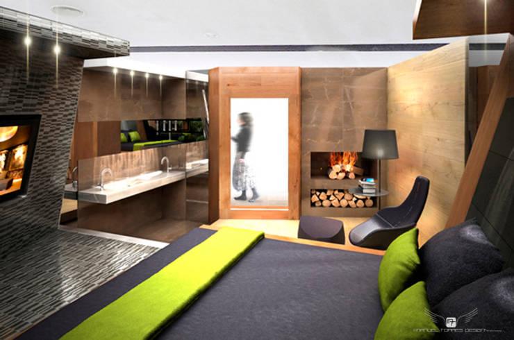 SUITE MATERIAL NOBLE: Salones de estilo  de MANUEL TORRES DESIGN