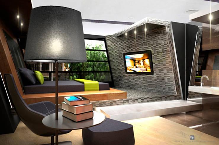 SUITE MATERIAL NOBLE: Salas multimedia de estilo  de MANUEL TORRES DESIGN