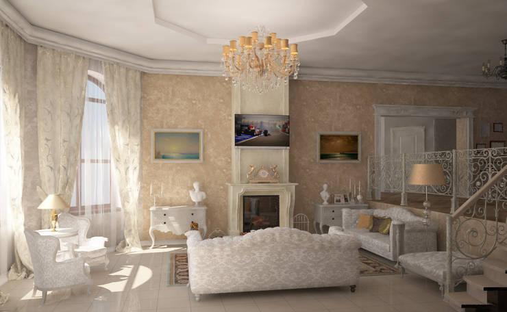 Каминный зал: Гостиная в . Автор – Гурьянова Наталья